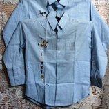 Джинсовые рубашки, длинный рукав, вышивка, р.26-40, котоновые, хлопок