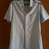 рубашка мужская 48р с коротким рукавом голубая