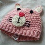 Няшная розовая шапочка с ушками котик F&F на 3-8 мес.
