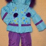 Тёплый и легкий зимний костюм,куртка с подстежкой-желеткоый и полукомбенизон.рост 74.80.86.92.98
