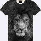 Мужская футболка 3D Грозный лев Огромный лев