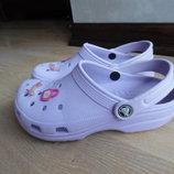 Кроксы аквашузы 22 см фиолетовые сост новые оригинал Crocs Крокс