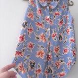 Блуза-Рубашка без рукава в цветы