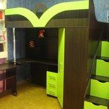 Кровать-Чердак с рабочей зоной, угловым шкафом и лестницей-комодом кл6-3 Merabel