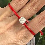 Красная нить серебряная браслет Россыпь бриллиантов 4049