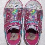 Светящиеся блестящие кеды-кроссовки Skechers на девочку - 24 размера, 15 см стелька