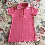 2-3,5 год. Спортивное платьице- поло. Стильное и модное платьице кораллового цвета. Очень удобное