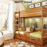 Ліжко-Трансформер Дует 2 массив дерева цельное дерево усиленная ножка