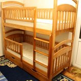 Двухэтажная кровать Карина Люкс кровать трансформер массив дерева усиленная полная комплектация