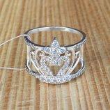 Кольцо серебряное Корона двойная