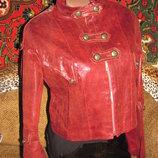 Стильная куртка-гусарка под кожу, р. 46, замеры внутри