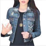 куртка женская джинсовая SEXI ветровка джинсовый пиджак с заклепками рваная потертая
