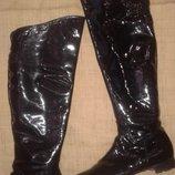 41.5-27.5 лак-кожа сапоги Donna Carolina Made in Italy высота от пола 57 см на максимуме ширина голе