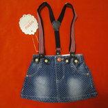 Стильная джинсовая юбка с подтяжками из Венгрии