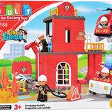 Конструктор детский 5155 Пожарка, пожарная станция JDlT, крупные детали, аналог Лего