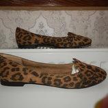 Туфли, лоферы балетки 38 размер, стелька внутри 24 см, цвет- леопард