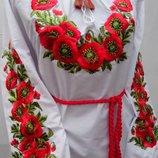 Женская вышиванка с маками длинный рукав жіноча вишиванка