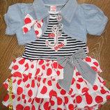 Шикарное платье с болеро Морячка на 9 - 12 месяцев