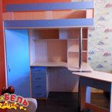 Кровать-Чердак с выдвижным столом и угловым шкафом к26-2 Merabel