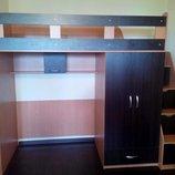 Кровать-Чердак со шкафом и лестницей-комодом кл30 Merabel