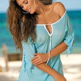 Lily Marko пляжная туника платье легкая свободная завязки и рукавчик M-339