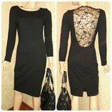 Платье черное с кружевной спиной размер м-л