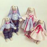 Крепкая и дружная семья зайцев SWEET FAMILY , тильда, подарок, ручная работа свадьба годовщина