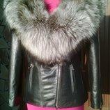 Куртка косуха из натуральной кожи и натуральным мехом чернобурки