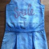 Джинсовый сарафан-платье для девочки 4-5 лет