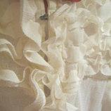 Нежная, стильная кремовая майка-кофта топ в рюши, из полупрозрачной ткани,цвет ivory.XS-S.42-44