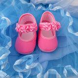 Белые, розовые нарядные пинетки Тм Раnduff Турция для девочек до года.