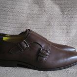 Очень красивые дизайнерские коричневые кожаные монки на 2 пряжках Guli 43 р.