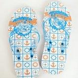 Шлепанцы 13P003 синий,голубой,оранжевый