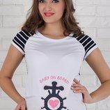Облегающая футболка-реглан для беременных Alyva sailor индиго-белая полоска с белым