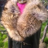 Куртка косуха из натуральной кожи и натуральным мехом енота