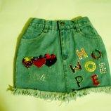 Юбка детская 3-6 лет, джинсовая, красивущая смотри замеры, размер S