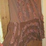 Легкая, воздушная стрейчавая юбка с пышным низом в рюши S-M-L, 44-46-48.