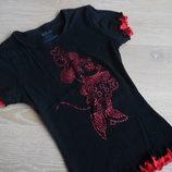 футболка майка 146-152 или женская красная черная минни маус новая