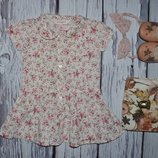 Рубашка блузка блуза для модницы в цветочек 2 - 3 года 98 см
