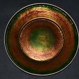 большая старинная коллекционная тарелка эмаль посеребрение