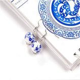красивые серьги с голубыми цветами