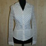 Новая женская белая блуза DeLizza с кружевными рукавами р. 44-46