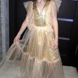 Золотое платье на выпуск 2в1 рост 122,128,134,140