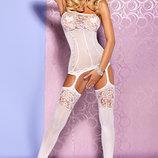 F204 Obsessive белая боди сетка с чулками хит продаж качественное белье Польша красивая Оригинал