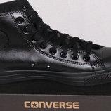 Converse низкие кожаные кеды черные и белые Конверс
