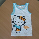 майка блузка 5-6 л футболка желтая белая на море Hello Kitty Хелло Кити