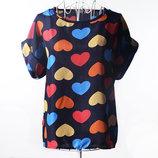 Красивая женская блуза с короткими рукавами / Футболка шифоновая с сердечками синяя