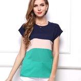 Красивая женская блуза с короткими рукавами / Футболка шифоновая синяя, бежевая, зеленая