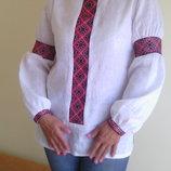 Рубашка вышиванка - ручная работа выбеленый лен молодежного фасона.