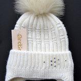 Зимняя шапка на флисе с песцовым бубоном, Снежинка